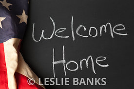 Welcome Home Sign on Chalkbaord