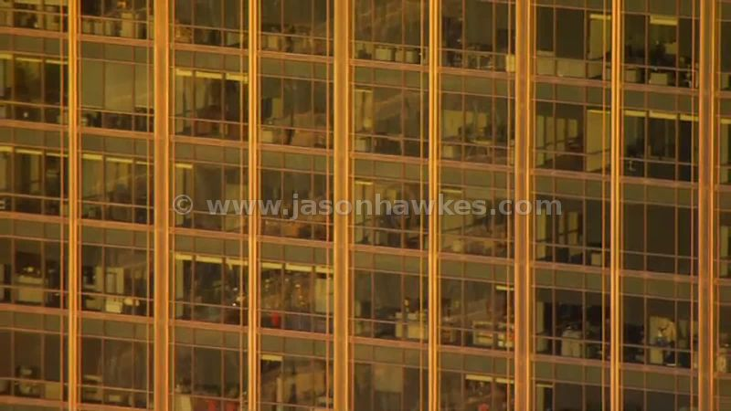 Aerial footage of office building in Canary Wharf, London