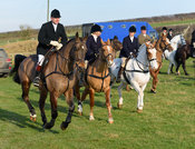 leaving the meet - The Cottesmore Hunt at Stone Lodge Farm 24/1