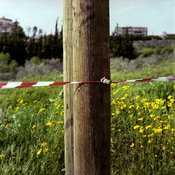 Lebanon - Tyre - A red and white tape cordons off a field