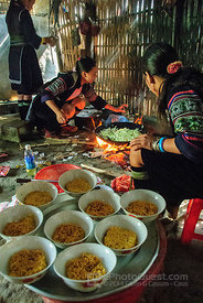 Hmong Guide Making Noodle Soups for Tourists