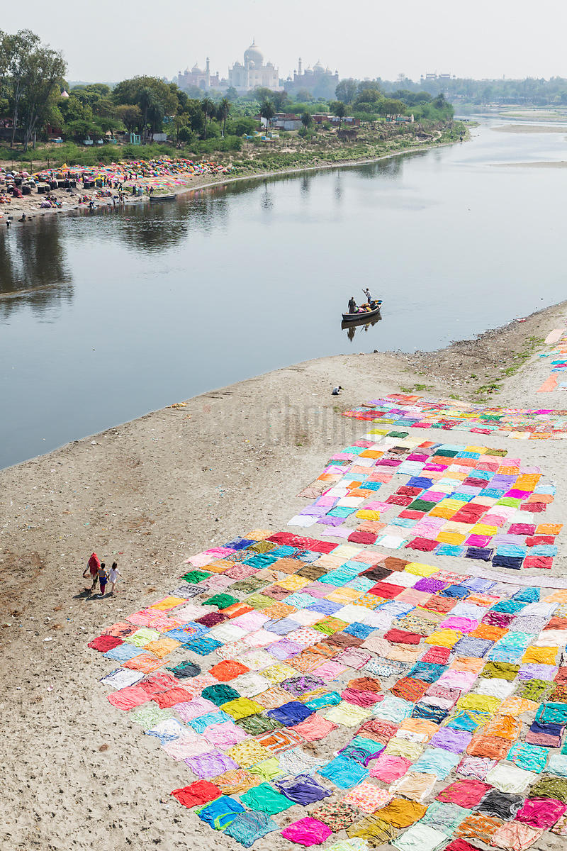 Saris Drying on a sand Bar in the Yamuna River