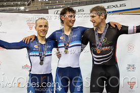 Cat 1 Men Scratch Race Podium. Eastern Track Challenge/O-Cup #3, February 10, 2019