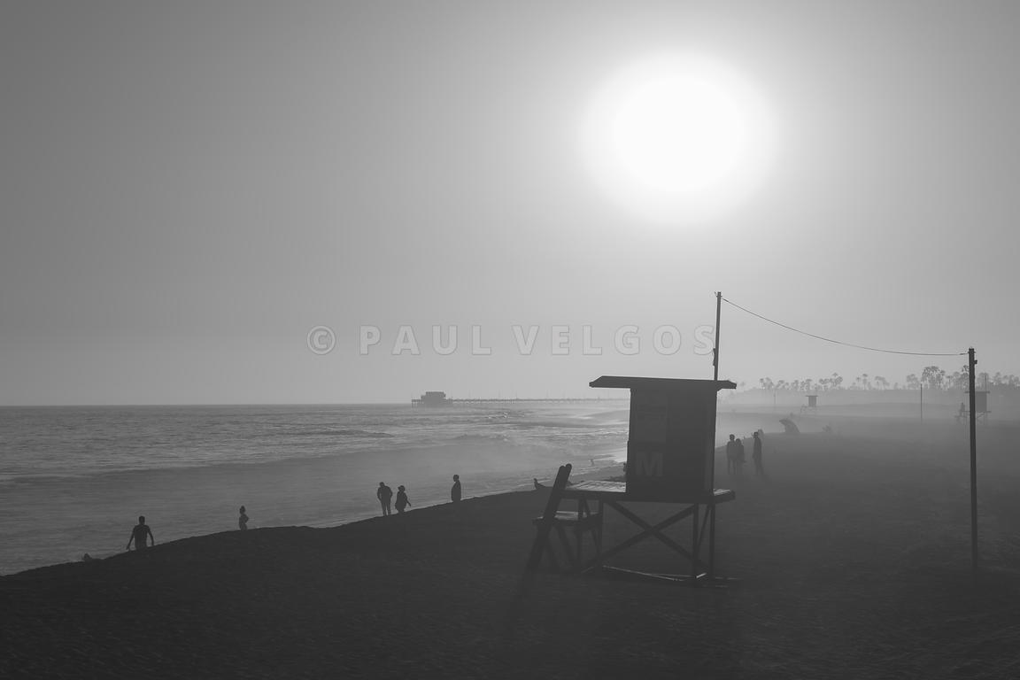 Lifeguard Tower M Black and White Photo in Newport Beach CA