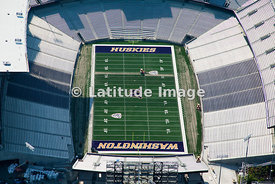 Husky Stadium at the University of Washington and Lake Washington, Seattle