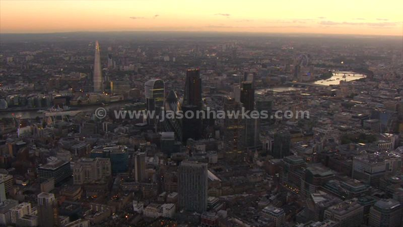 Aerial footage of The City of London at sunset, London