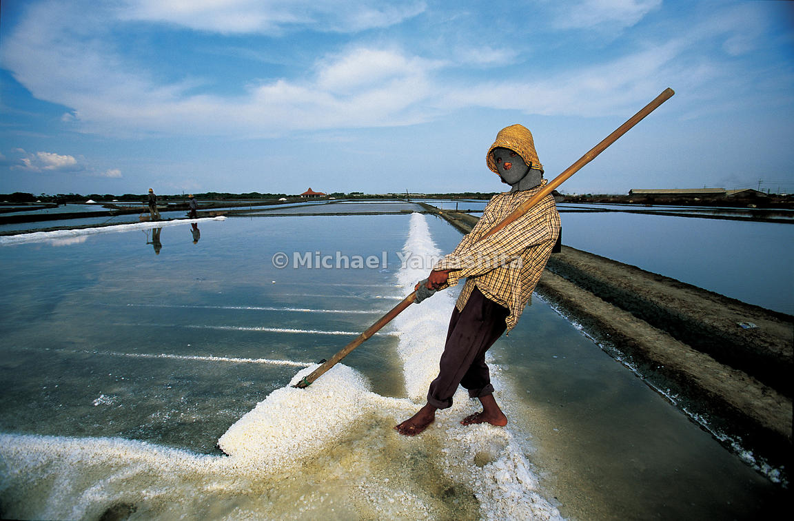 Salt-gathering in evaporation ponds in Gresik is done only on sunny days.