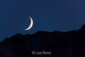Crescent Moon Setting Over the Sierra Nevada Mountains
