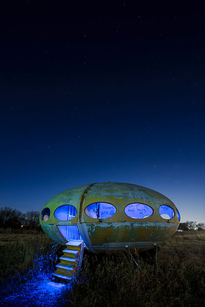Futuro Home With Blue Lights