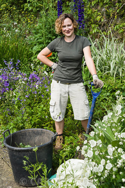 Liza Marchant, gardener at Askham Hall, near Penrith, Cumbria, UK