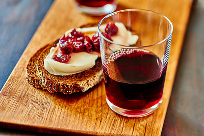 Red Wine with Cheese & Jam Bruschetta