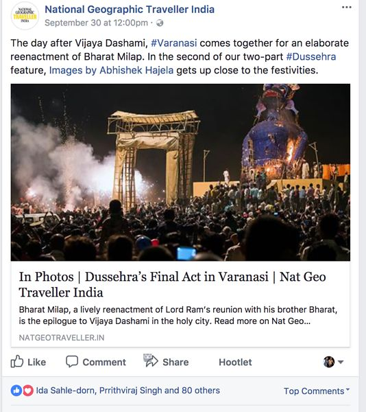 National Geographic Traveller India, Facebook Page