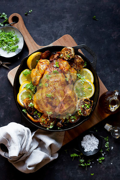 Whole Chicken Roasted in a cast iron pan