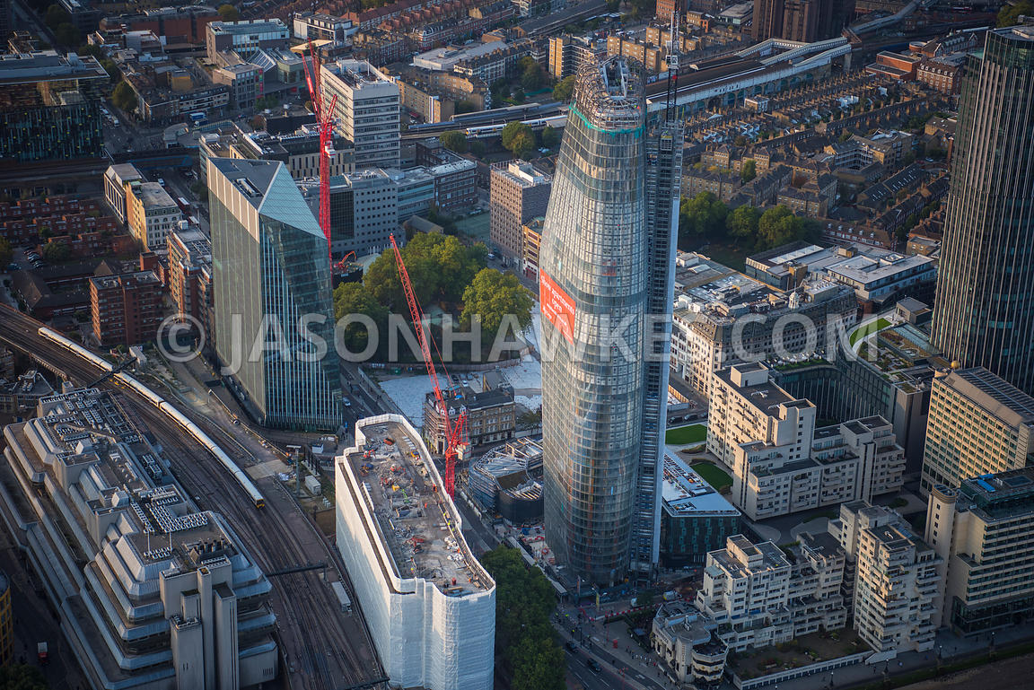 Aerial view of London, Blackfriars Road redevelopment, Southwark.