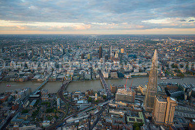 London. Aerial view of the Shard and the City of London