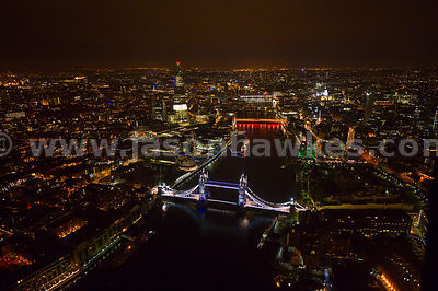 Night aerial view of Tower Bridge, London