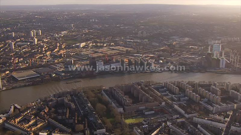 Aerial footage of Pimlico and Nine Elms, London