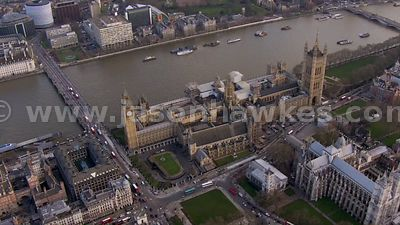 Aerial footage of the Houses of Parliament