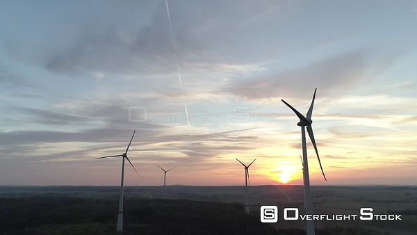 Wind Turbines in Open Country Sunrise Germany