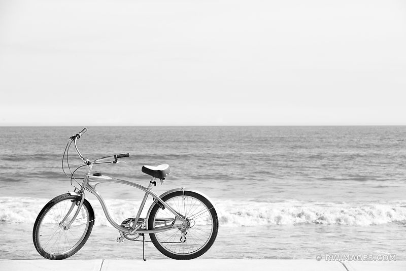 THE BIKE AND THE OCEAN CAPE NEDDICK MAINE BLACK AND WHITE
