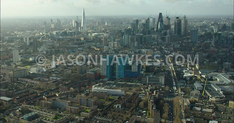 London Aerial footage, The Royal London Hospital towards City of London skyline.