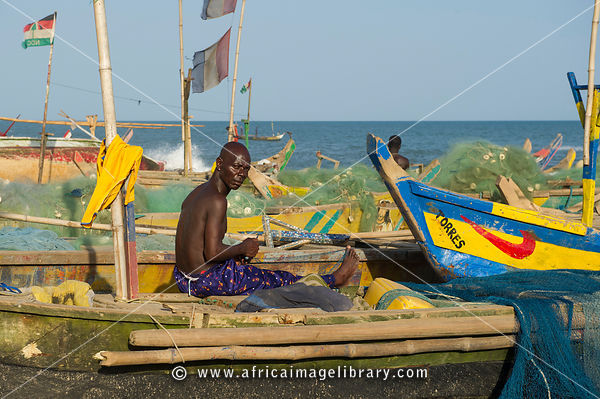 Fishing beach next to Fort William, old slave-trading centre, Anomabu, Ghana
