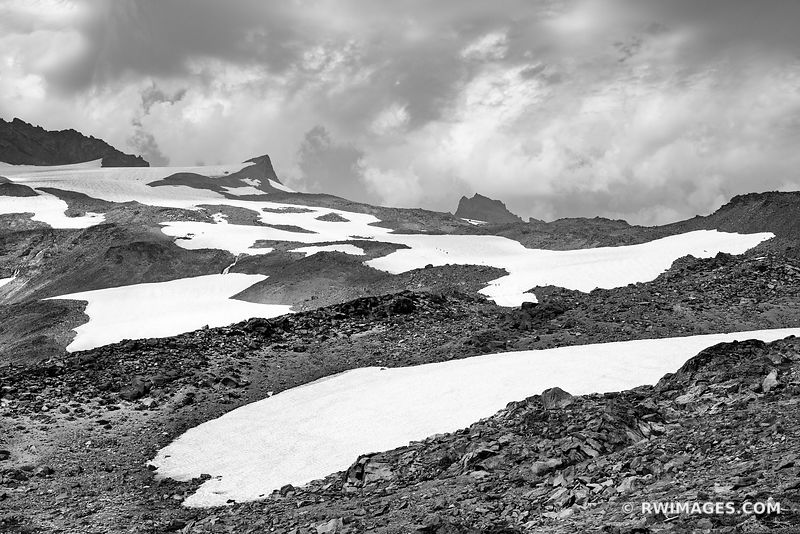 SKYLINE TRAIL MOUNT RAINIER NATIONAL PARK WASHINGTON BLACK AND WHITE