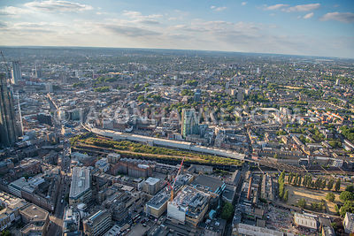 Aerial view of Shoreditch High Street Overground Station and Boxpark.