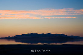 Twilight over the Great Salt Lake viewed from the Bridger Bay Campground, Antelope Island State Park, Utah, USA, August, 2008...