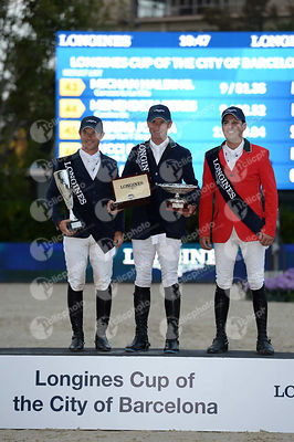 Ondrej ZVARA ,(CZE), Denis LYNCH  ,(IRL), Santiago LAMBRE ,(MEX) during Longines Cup of the City of Barcelona competition at ...