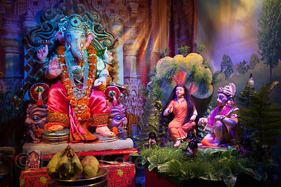 Beautiful miniature Ganesh scene in a home in Lalbaug, Mumbai, India. This whole scene is only the size of your hand.