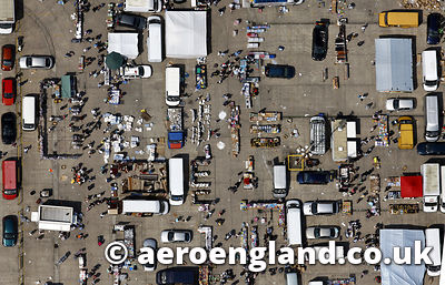 aerial photograph of Sunday Market in Leeds  Yorkshire,  England UK