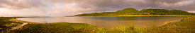 Panoramic view of Lake Sibaya at Sunset.
