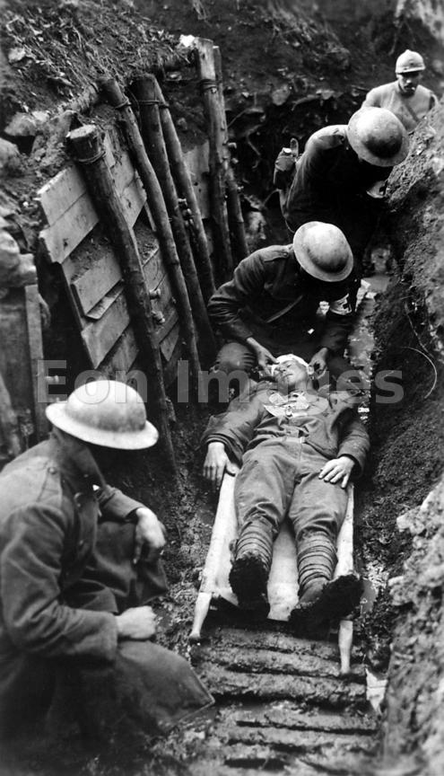 US Marine receives first aid in a trench in Toulon, France