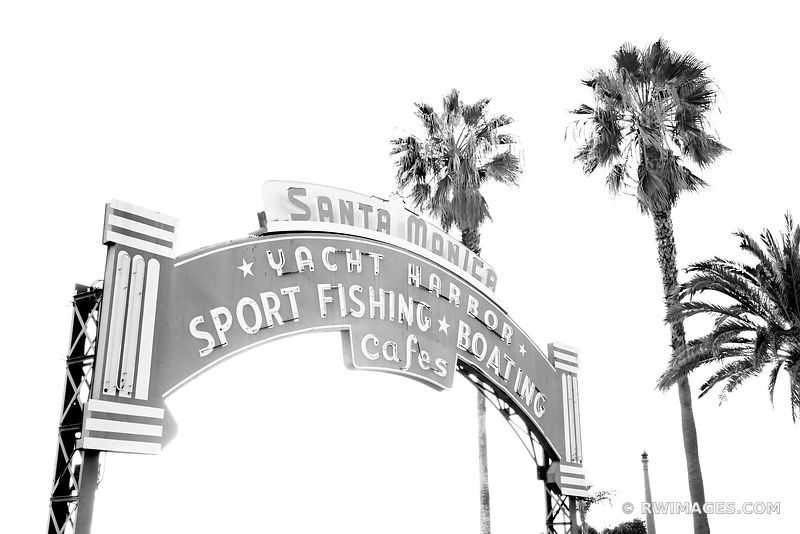 SANTA MONICA YACHT HARBOR SIGN SANTA MONICA CALIFORNIA BLACK AND WHITE