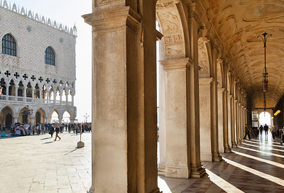 Italy, Venice, Arcades at St. Mark's Square and Doge's Palace
