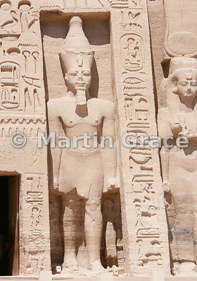 Colossus of Ramesses II on the facade of the Temple of Hathor, Abu Simbel, Egypt