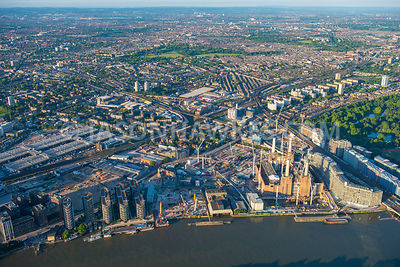 Aerial view of London, redevelopment at Nine Elms with Riverlight and Battersea Park
