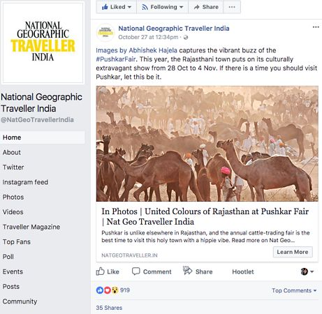 Nat Geo India, Pushkar Photo Essay on Facebook, Oct 27 2018