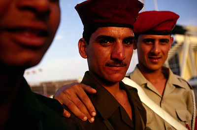 Iraq - Baghdad - Soldiers pose for a photograph