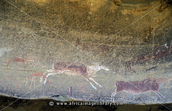 San rock-art (bushman painting), Royal Natal National Park, Ukhahlamba Drakensberg Park, KwaZulu-Natal, South Africa
