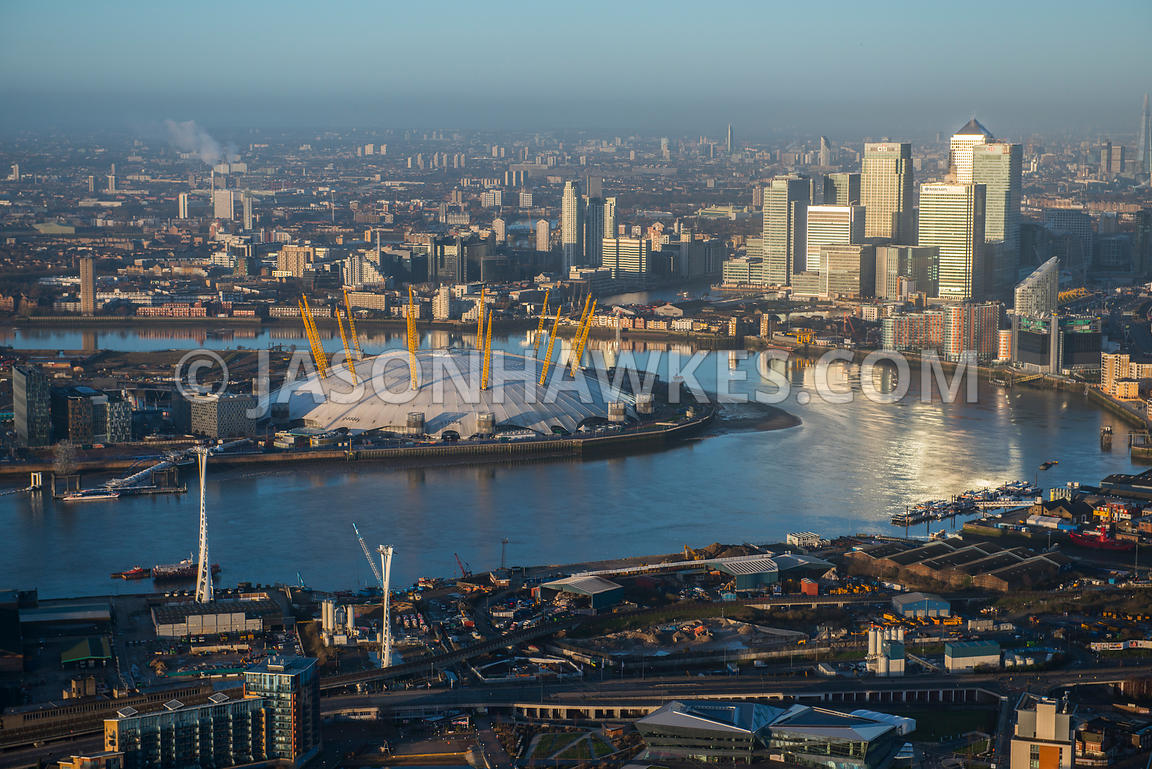 Aerial view of the O2 Arena and Canary Wharf, London
