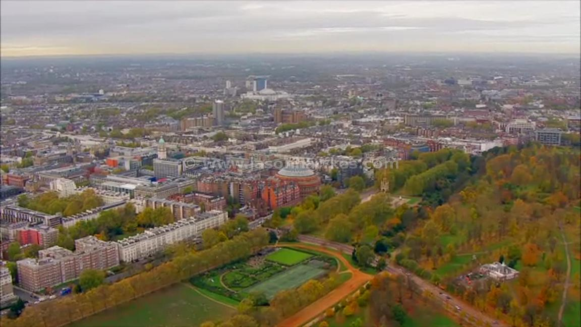 Aerial footage of Kensington, London