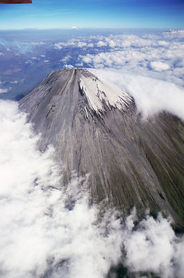 Aerial view of summit cone of Sangay, dormant volcano, Ecuador