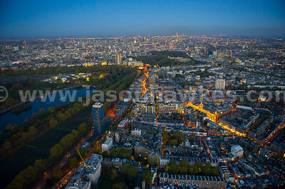 London. Aerial view of Knightsbridge