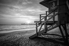 San Clemente Lifeguard Tower Three Black and White Photo
