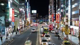 Medium Shot: Shibuya Traffic & Shops At Night