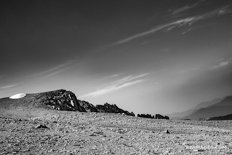 BURROUGHS MOUNTAIN TRAIL SUNRISE AREA MOUNT RAINIER WASHINGTON BLACK AND WHITE