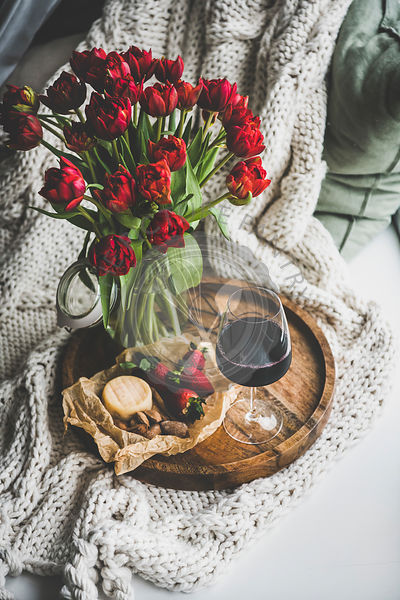 Red wine, snacks and red tulips over knitted blanket