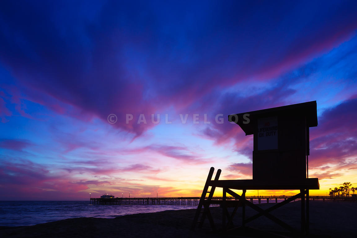 Purple Lifeguard Tower B Newport Beach Sunset